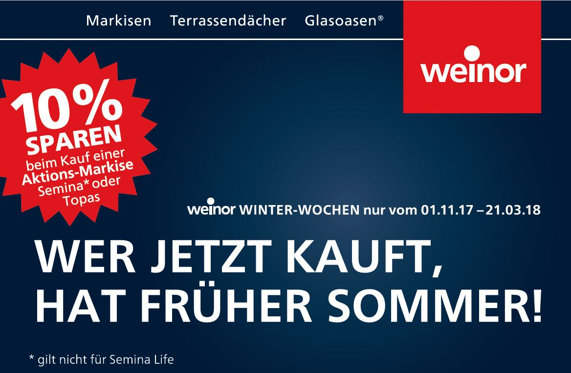 10% Rabatt weinor Winter-Wochen